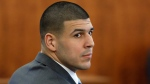 Former New England Patriots football player Aaron Hernandez sits during his murder trial Thursday, March 19, 2015, in Fall River, Mass. (AP Photo/Steven Senne, Pool)