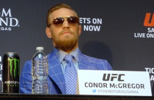 Featherweight challenger (The Notorious) Conor McGregor, of Ireland, looks on during a press conference for the UFC 189 World Championship Tour in Toronto on Friday, March 27, 2015. (The Canadian Press/Neil Davidson)
