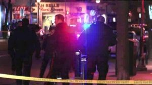 Police respond to a stabbing outside a bar in Whitby on Saturday, March 28, 2015.