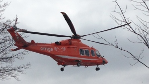 An Ornge air ambulance takes off in Kitchener, Ont., on Saturday, March 28, 2015. (Kevin Doerr / CTV Kitchener)