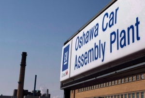A sign stands outside Oshawa's General Motors car assembly plant in Oshawa, Canada. The Government of Canada has sold its remaining shares in General Motors. (Michelle Siu / THE CANADIAN PRESS)