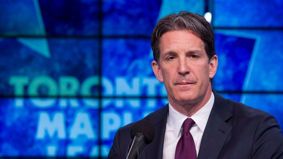 Toronto Maple Leafs president Brendan Shanahan attends a news conference in Toronto on April 14, 2014. (Chris Young / THE CANADIAN PRESS)