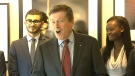 Mayor John Tory speaks about a youth employment initiative in Toronto Monday April 13. 2015.