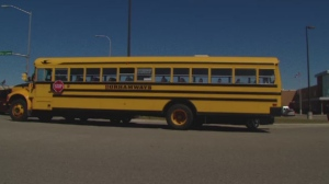 A school bus is seen outside a Durham public high school.