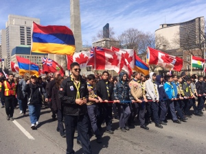Thousands of people take part in a march in downtown Toronto to mark the 100th anniversary of the Armenian genocide Sunday April 19, 2015. (Arda Zakarian /CP24)