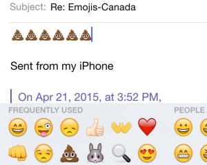 Forget the smiley face: a new report suggests Canadians like to add a little spice to their textspeak with suggestive - and pungent - picture icons. The report found Canadians were in the top spot for using the not-so-subtle poop emoji, shown in this April 21, 2015 screen grab. (The Canadian Press/stf)