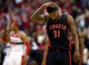 Toronto Raptors forward Terrence Ross (31) reacts during the second half of Game 3 in the first round of the NBA basketball playoffs against the Washington Wizards, Friday, April 24, 2015, in Washington. (AP Photo/Alex Brandon)