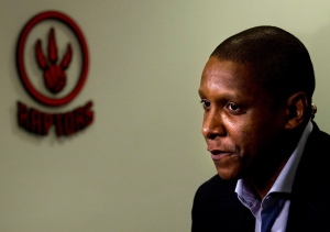 Toronto Raptors' president and GM Masai Ujiri waits for an interview at a season-ending news conference in Toronto on Tuesday, April 28, 2015. THE CANADIAN PRESS/Nathan Denette