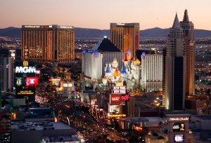 In this Oct. 20, 2009 file photo, casinos are pictured on the Las Vegas Strip. (AP Photo/Isaac Brekken, File)