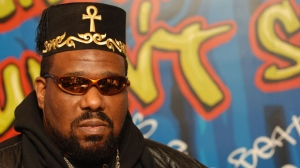 Afrika Bambaataa, 1980s pioneer of what would become hip-hop music, at the press conference for Hip-Hop Comes to the Smithsonian Donation Ceremony, Hilton New York, New York, NY, Tuesday, February 28, 2006. (Photo by: Brad Barket)