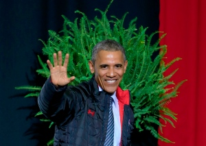 President Barack Obama waves as he leaves after delivering the commencement address to the 2015 graduating class of Lake Area Technical Institute, in Watertown, S.D., Friday, May 8, 2015. (AP /Nati Harnik)