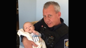 A Halton Regional Police officer is being credited for his quick-thinking after performing life-saving CPR on a baby at an Oakville grocery store.