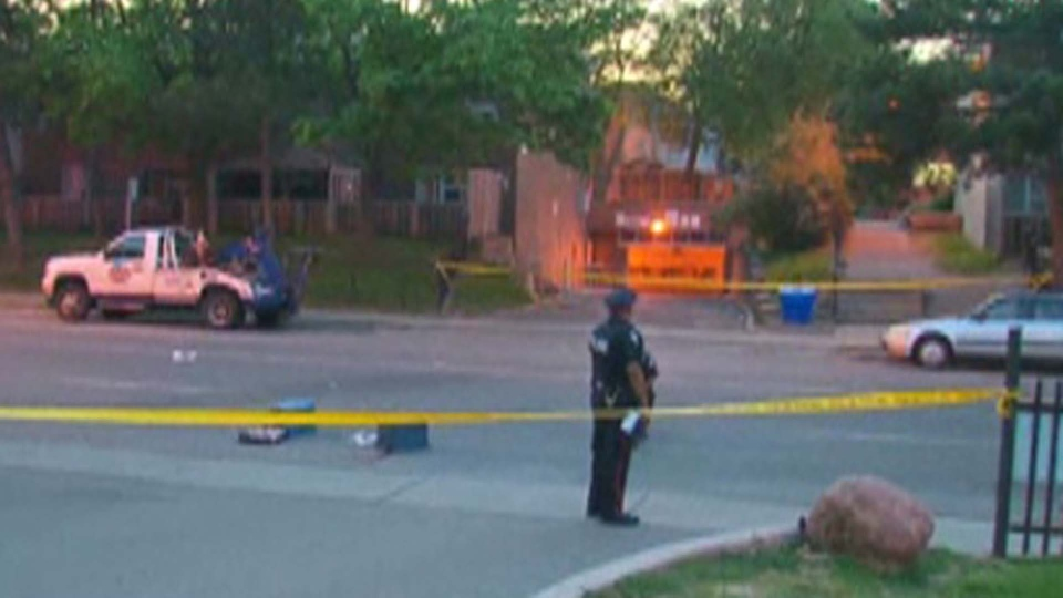 Police investigate at the scene of a reported stabbing that sent one man to hospital with life-threatening injuries Sunday May 17, 2015.