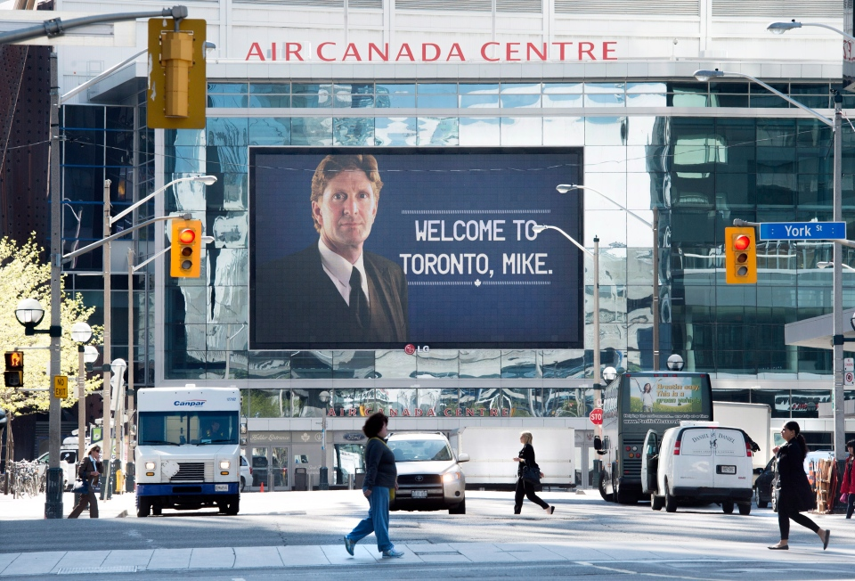 A sign welcoming Mike Babcock as the new head coach of the Toronto Maple Leafs is displayed at the Air Canada Centre in Toronto on Thursday, May 21, 2015. THE CANADIAN PRESS/Darren Calabrese