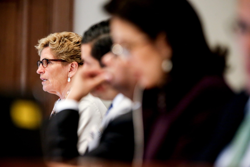 Ontario Premier Kathleen Wynne speaks at the Organization of American States (OAS) in Washington, Tuesday, May 19, 2015, on a variety of topics including the Pan Am Games to be held this July in Toronto. (AP Photo/Andrew Harnik)
