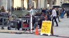 A film crew works in Toronto on Tuesday, May 26, 2015.