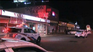 Police respond to a bar fight at Lawrence and Morningside avenues Satirday May 30, 2015.