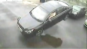 Security camera footage captures the moment an airborne vehicle slammed into a building near Leslie St. and Coldwater Rd. Sunday May 31, 2015.