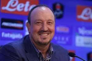 Rafael Benitez smiles during a press conference in Naples, Italy, Thursday, May 28, 2015. (Cesare Abbate/ANSA via AP)