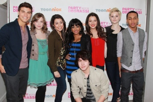 "Actors, clockwise from left, Luke Bilyk, Aislinn Paul, AlexSteeler, Melinda Shankar, Annie Clark, Jordan Todosey, Jahmil French and Munro Chambers from ""Degrassi: The Next Generation,"" are shown at a screening event, Saturday, Feb. 18, 2012, at the Wellmont Theater in Montclair, N.J. On Friday, ""Degrassi,"" which premiered on CTV in 2001 and now airs on MuchMusic, presents its 300th episode. THE CANADIAN PRESS/AP Photo/StarPix, Dave Allocca"