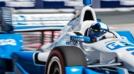 Juan Pablo Montoya of Colombia accelerates during qualification at the Honda Indy in Toronto on Saturday, June 13, 2015. THE CANADIAN PRESS/Aaron Vincent Elkaim