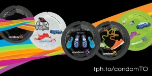A number of Pan American Games themed condoms are shown in this photo. (Toronto Public Health)