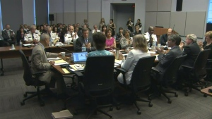 Members of the Toronto Police Services board are shown on Thursday, June 18.