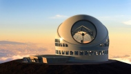 This undated file artist rendering made available by the TMT Observatory Corporation shows the proposed Thirty Meter Telescope, planned to be built atop Mauna Kea, a large dormant volcano in Hilo on the Big Island of Hawaii. (TMT Observatory Corporation / AP)