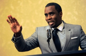 "In this July 26, 2013 file photo, Sean ""Diddy"" Combs addresses reporters at the Beverly Hilton Hotel in Beverly Hills, Calif. (Photo by Chris Pizzello/Invision/AP)"