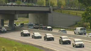 A shot of the new HOV lanes. (CP24).