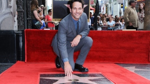 Paul Rudd is honored with a star on the Hollywood Walk of Fame on Wednesday, July 1, 2015, in Los Angeles. (Photo by Richard Shotwell/Invision/AP)