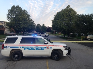 A police cruiser is shown near the scene of a fatal stabbing in Pickering on Thursday morning. (Cam Woolley)