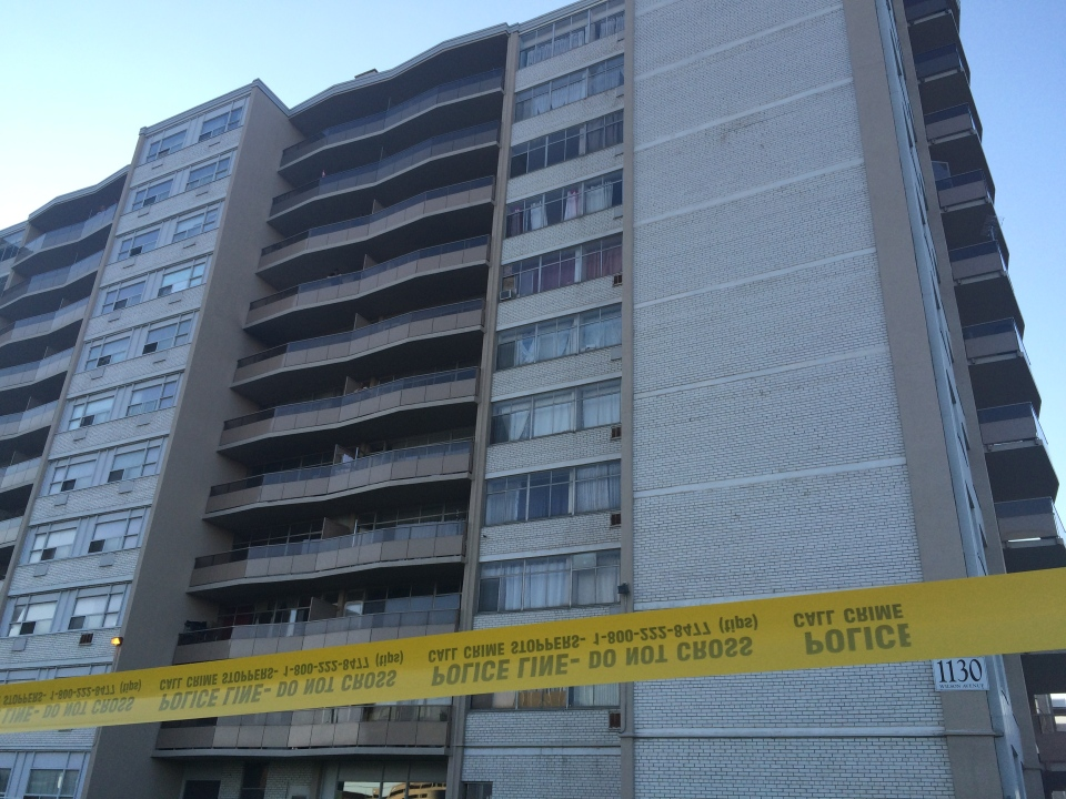 Police tape is seen around a building on Wilson Avenue after a child fell from an apartment on Thursday, July 2, 2015. (CP24/Jackie Crandles)