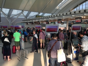 Crowds are shown inside Toronto Pearson International Airport on Friday, July 3, 2015. (Cam Woolley)
