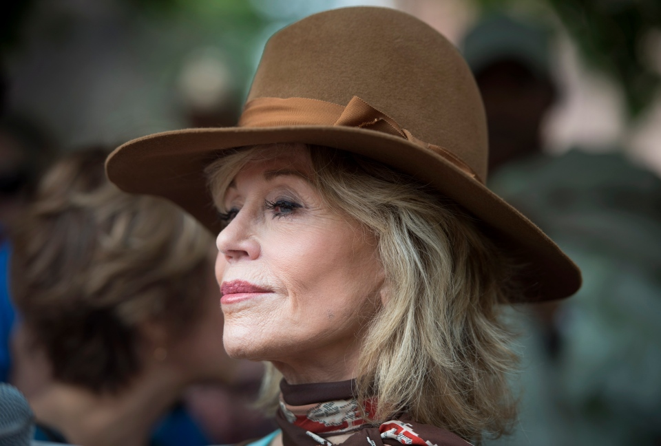 Actress and activist Jane Fonda joins the March for Jobs, Justice and Climate before the Pan American Climate and Economic Summit in Toronto on Sunday, July 5, 2015. (Darren Calabrese /The Canadian Press)
