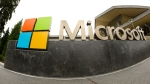 This July 3, 2014, file photo, shows the Microsoft Corp. logo outside the Microsoft Visitor Center in Redmond, Wash. (AP /Ted S. Warren)