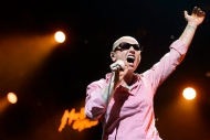In this Saturday July 4, 2015 picture Irish singer Sinead O'Connor performs on the Stravinski Hall stage at the 49th Montreux Jazz Festival, in Montreux, Switzerland, (Jean-Christophe Bott/Keystone via AP)