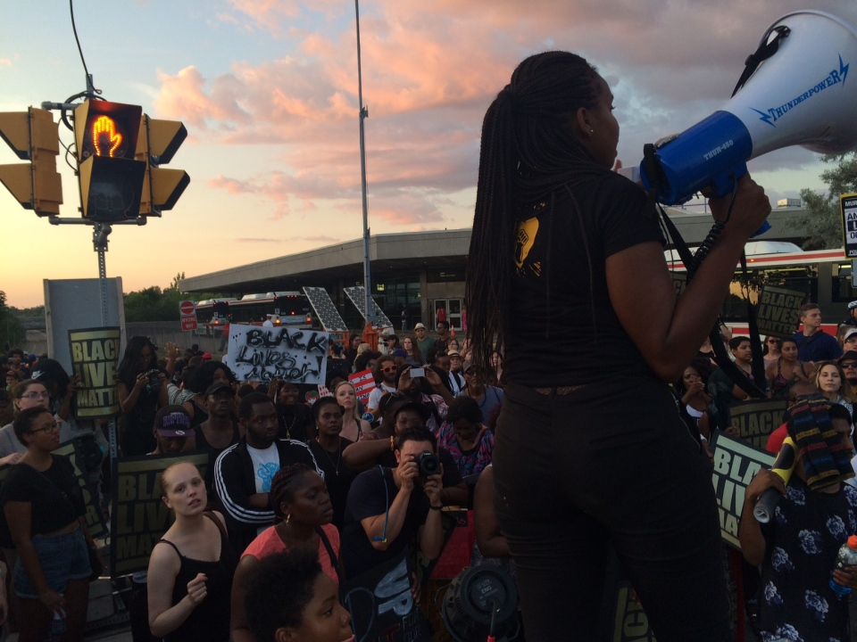 Protesters with the group Black Lives Matter-Toronto are seen blocking the Allen Expressway at Eglinton Avenue on Monday, July 27, 2015. (CP24/Tracy Tong)