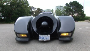 Stephen Lawrence's Batmobile is seen here. (CTV News)