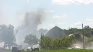 Burlington firefighters fight large blaze in barn