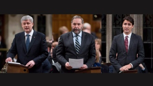 Three images showing Canadian Prime Minister Stephen Harper, NDP Leader Tom Mulcair and Liberal Leader Justin Trudeau in the House of Commons on Tuesday March 24, 2015. (The Canadian Press/Adrian Wyld)