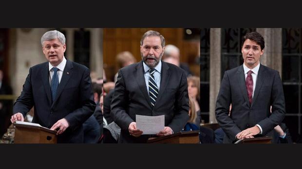 Harper, Trudeau, Mulcair