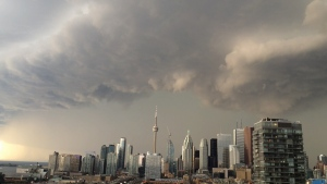 Dark clouds are seen above downtown Toronto in this undated file photograph.
