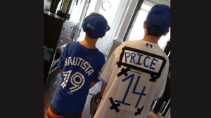 Jake Mallory and Noah Duplessis are seen in this photo ahead of a Toronto Blue Jays game (Twitter/ @jjay6555)