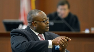 Defense attorney, Michael Greene speaks during opening arguments of Randall Kerrick's trial at the Mecklenburg County Courthouse in Charlotte, N.C., Monday, Aug. 3, 2015. Kerrick is facing voluntary manslaughter charges in the shooting death of Jonathan Ferrell. (Davie Hinshaw/The Charlotte Observer via AP, Pool)