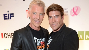 Steven Sabados, left, and Chris Hyndman attend Stand Up To Cancer Canada on Friday, Sept. 5, 2014, in Toronto. (Ryan Emberley/Invision for Entertainment Industry Foundation/AP Images)