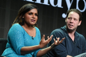 "Actors Mindy Kaling, left, and Ike Barinholtz participate in the ""The Mindy Project"" panel at the Hulu Summer TCA Tour at the Beverly Hilton Hotel on Sunday, Aug. 9, 2015, in Beverly Hills, Calif. (Photo by Richard Shotwell/Invision/AP)"