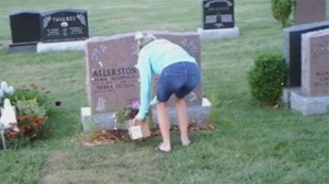 Police are searching for a suspect who has allegedly repeatedly stolen from the same London, Ont. grave site for the past three months. (Facebook/ Marg Allerston-Medeiros)