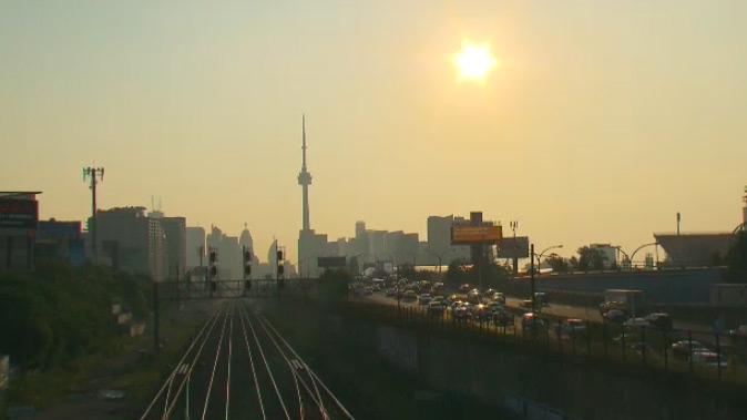 The Toronto skyline is seen Monday, Aug. 17, 2015.