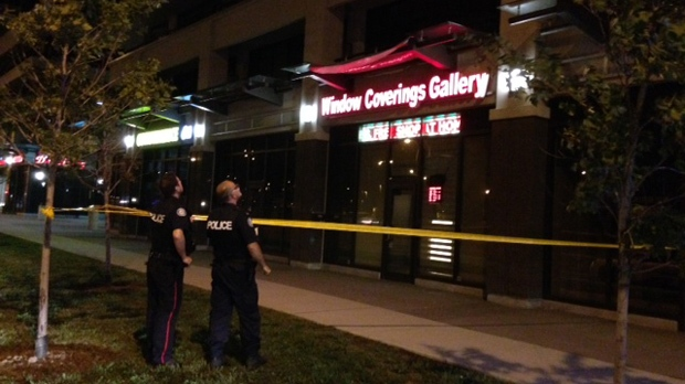 Police investigate after a woman fell six floors off an apartment balcony in Downsview. (Cam Woolley/CP24)